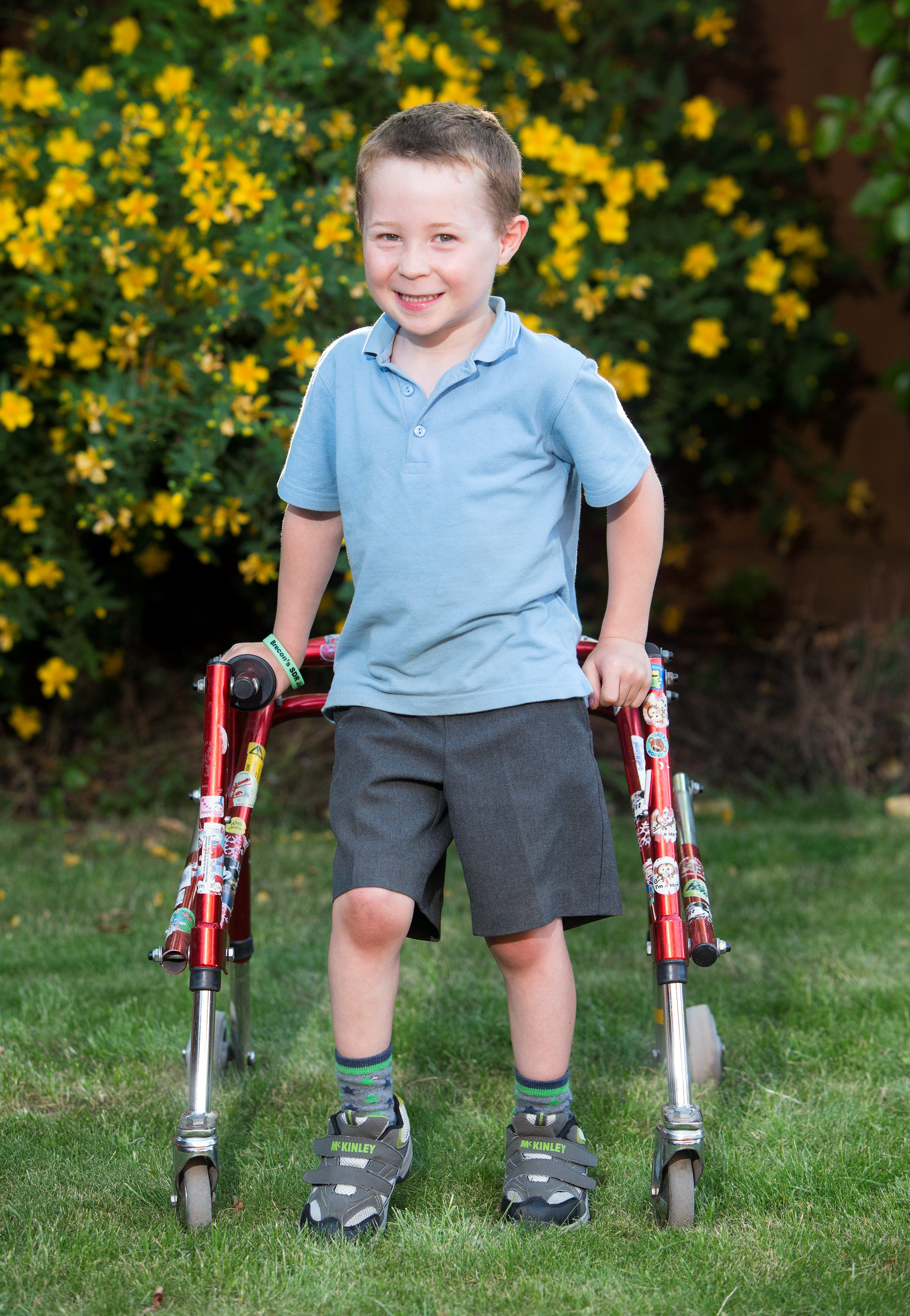 Brecon Vaughan, 5, Chepstow. Dan Black, 25, will donate £20,000 to five year old Brecon Vaughan who needs pioneering surgery for a condition called spastic diplegia cerebral palsy. See SWNS story SWWALK; A paralysed man has given up his dreams of ever walking again - to help a young lad fund pioneering surgery that could help him take his first steps unaided. Generous Dan Black, 25, gave a massive £20,000 - the sum of all the fundraising endeavours of his family and friends - to five-year-old Brecon Vaughan, who desperate to be able to walk. Brecon is over the moon that stranger Dan gave him a third of the £60,000 he needs to pay for an op that would help his debilitating medical condition. Young Brecon, who suffers from rare spastic diplegia cerebral palsy, has to use a specially-designed walking frame as he suffers terribly with stiffness in his legs, as well as poor balance and coordination.